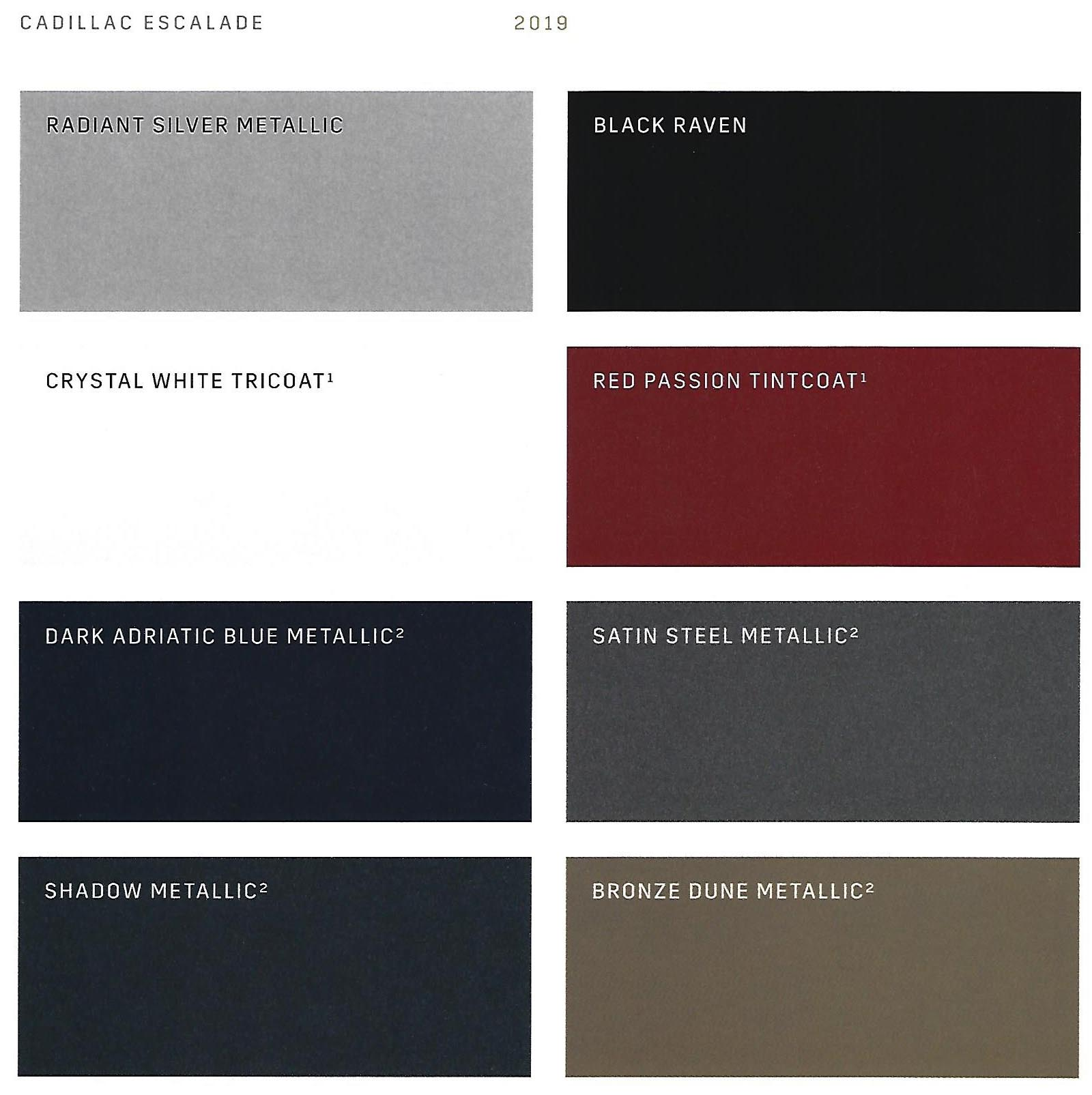 2019 cadillac colors